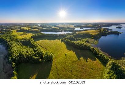 Aerial shot of lakes in Narachanski National Park, Belarus