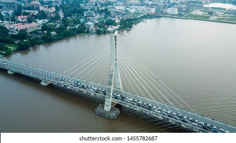 Aerial shot of Lekki- Ikoyi link bridge Lagos Nigeria