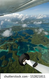 Aerial shot from light aircraft of Palau's Rock Islands