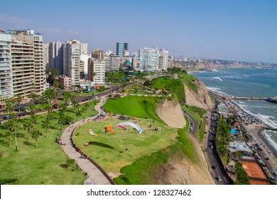 Aerial  shot of Lima city, Peru
