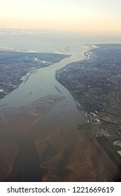 Aerial shot of Liverpool, Birkenhead and the Mersey estuary, England, UK.