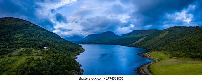 aerial shot of loch creran and glen creran on the west coast of the argyll region of the scottish highlands on a summer evening during stormy weather