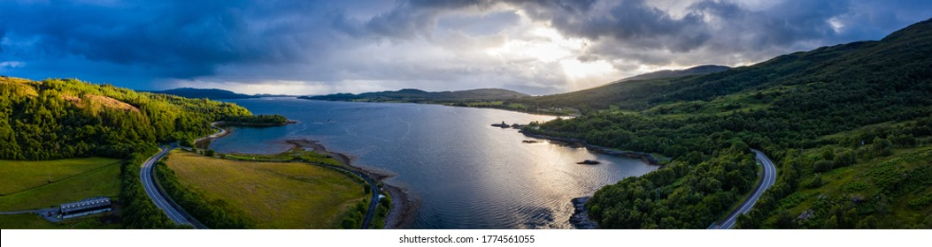 aerial shot of loch creran on the west coast of the argyll region of the scottish highlands on a summer evening during stormy weather