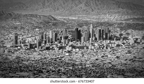 Aerial shot of Los Angeles and the downtown area