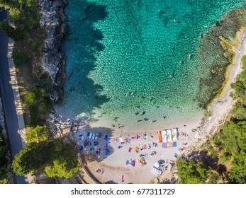 Aerial shot of lungomare coast in Pula,Croatia - Gortanova cove