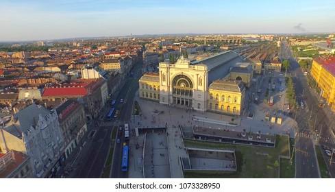 Aerial shot. The  main train station in Hungary - Budapest Keleti Train Station..