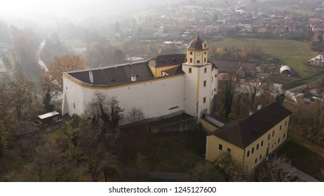 Aerial shot: Malenovice castle, Zlin, Czech Republic