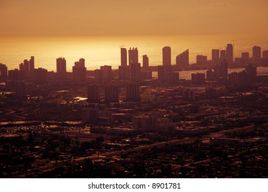 Aerial shot of Miami downtown on a golden afternoon