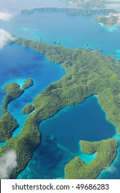 Aerial shot of Micronesia islands