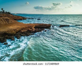 Aerial shot of Mil Palmeras seashore, Spain
