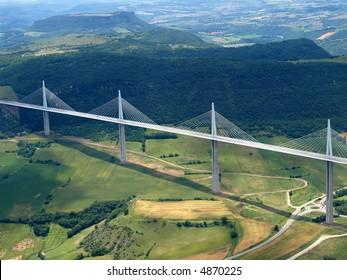 Aerial shot of the Millau bridge in France