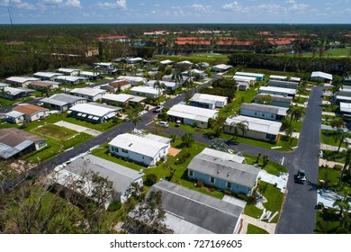 Aerial shot of mobile park homes destroyed aftermath Hurricane Irma