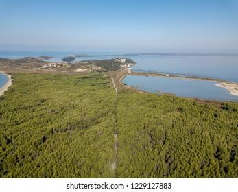 Aerial shot of Narta Lagoon in Zvernec, Vlora / Vlore, Albania (Albanian Riviera)