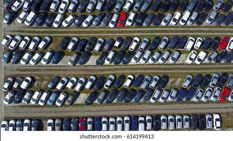 Aerial shot of new car parking, top view