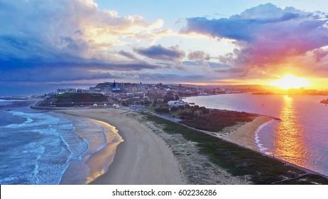 Aerial Shot of Nobbys Beach and Stockton, Australia