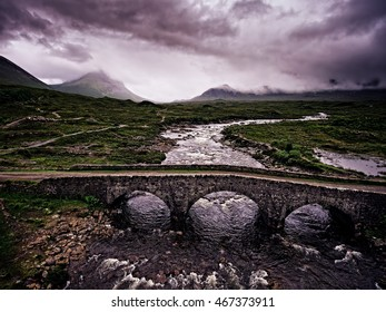 Aerial shot of the old bridge at Sligachan on the Isle of Skye.