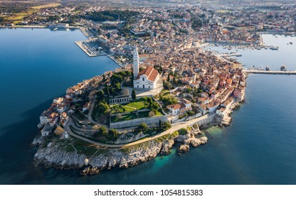 Aerial shot of an old Croatian coastal town Rovinj. Located on the western coast of the Istrian peninsula, it is a popular tourist resort and an active fishing port