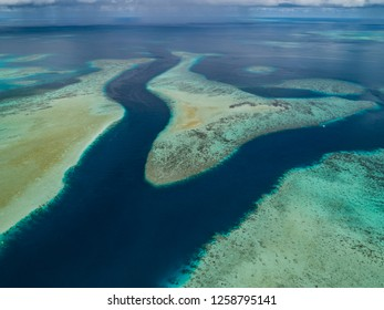 Aerial shot over Ebiil Channel, Marine Protected Area. Palau