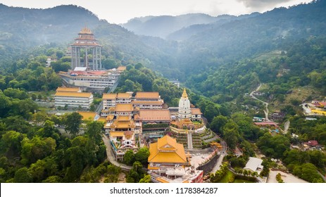 Aerial shot over the Kek Lok Si temple in Penang island, malaysia