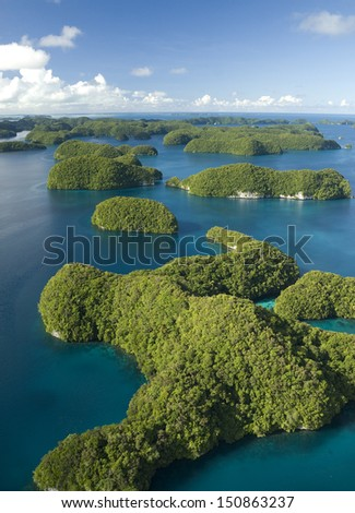 Aerial shot of Palau's mushroom shaped Rock Islands