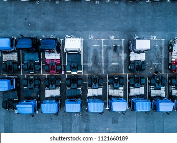 Aerial shot of parked transportation truck. Japan's shipping industry.