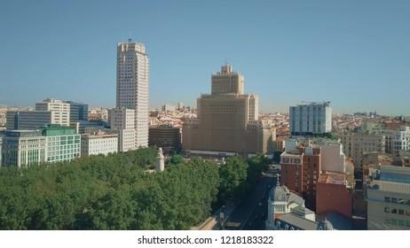 Aerial shot of Plaza de Espana square in Madrid centre, Spain