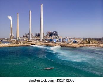 Aerial shot of power plant near Hadera, Israel.