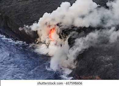 Aerial shot of Pu u O O vent Kilauea Volcano Hawaii Volcanoes National Park Island of Hawaii Hawaii USA