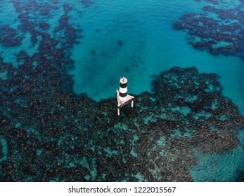 aerial shot of reefs