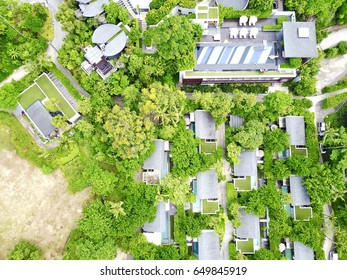 Aerial Shot Resort Hotel Tropical Island