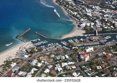 Aerial shot of Reunion island Saint Gilles les bains Reunion