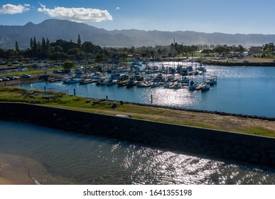Aerial shot of the river anahulu and the boat harbor in the North Shore town of Haleiwa