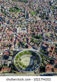 Aerial shot of a Roman colosseum in the Croatian town of Pula. The great amphitheatre, Pula Arena, was constructed between 27 BC – 68 AD