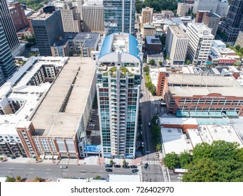 Aerial shot of Rooftops Downtown Raleigh NC