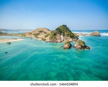 Aerial shot of Seger Beach and Kuta Beach in Lombok, West Nusa Tenggara / Indonesia