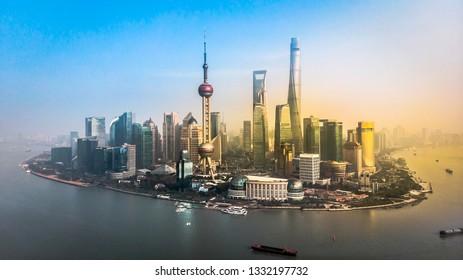 Aerial shot of Shanghai, the Bund