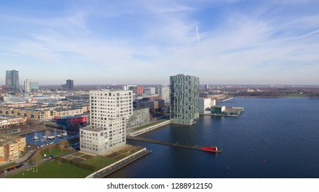Aerial shot of the Skyline of Almere, Netherlands