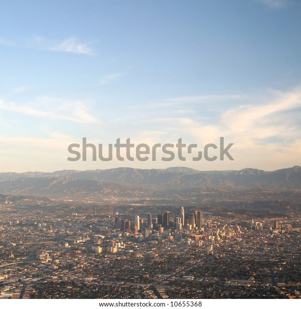 Aerial shot of a small part of Los Angeles including downtown.