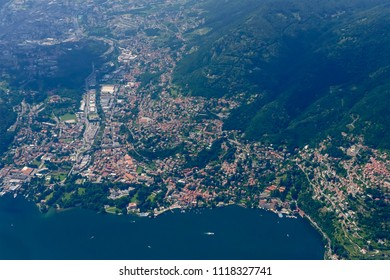 aerial shot, from a small plane, of Cernobbio village on western side of Como lake , shot on a bright late springtime day near Como, Lombardy, Italy
