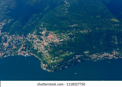 aerial shot, from a small plane, of Rovenna village on western side of Como lake , shot on a bright late springtime day near Como, Lombardy, Italy