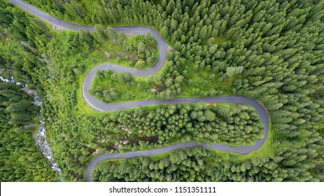 aerial shot of some road serpentines