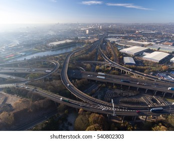 Aerial shot of Spaghetti Junction and Birmingham city centre, UK.