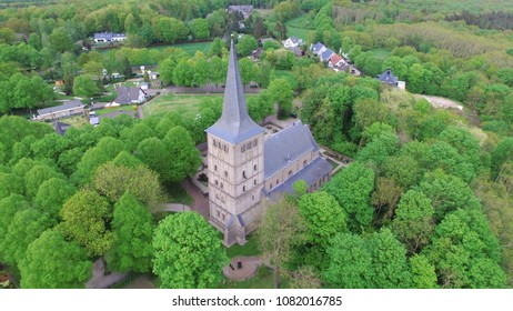 Aerial shot of the St. Vitus church in Elten. Elten is a German village but was part of the Netherlands between 1949 and 1963.