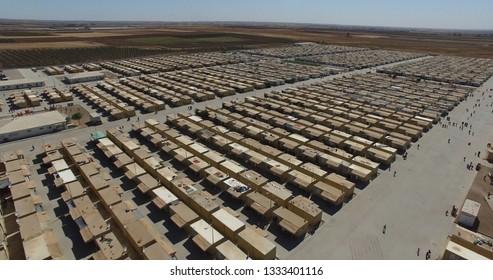 Aerial shot of syrian refugees camp in Kilis,Turkey 29.05.2018