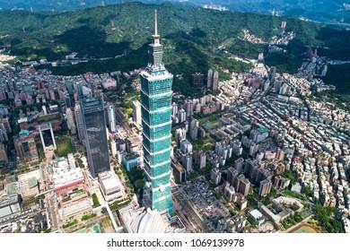 Aerial shot of Taipei 101, Taiwan