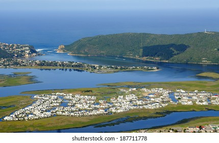 Aerial shot of Thesen Island and Head -  Knysna - Western Cape, South Africa