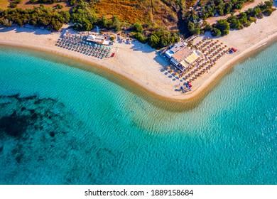 Aerial shot of Tuerredda beach on a beautiful day, Sardinia, Italy. Aerial drone view of Tuerredda in Sardegna. Famous Tuerredda beach on the south of Sardinia near Teulada. Sardinia, Italy.