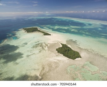 Aerial shot of two tropical islands in Palau