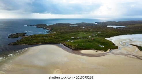 aerial shot of Uig Bay in the outer hebrides