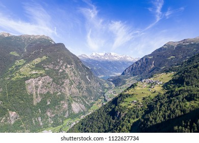 Aerial shot, Val Poschiavo. Switzerland